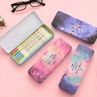 Wholesale set Pen Pencil Cases Colorful Star Pattern Cute Metal Pencil Box For Kids Gift School Office Stationery Material Escola