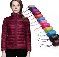 Wholesale 2016 Winter Women White Duck Down jacket Ultra Light Down Jackets warm Slim Stand Collar Long Sleeve Parkas coat Candy Colors