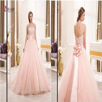 Wholesale 2016 Pearl Pink Quinceanera Dresses Beaded Tulle Ball Gowns dresses Bow Cheap Quinceanera Dress Debutante Gown For Girl Graduation Gown