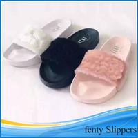 beach sandals wholesale - Leadcat Fenty Rihanna Shoes Women Slippers Indoor Sandals Girls Fashion Scuffs Pink Black White with retail box