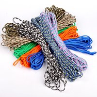 Wholesale 6 colors feet Dia mm stand Cores Paracord for Survival Parachute Cord Lanyard Climbing Camping Rope Hiking Clothesline