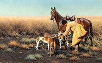 amazing dogs - Hugo Ungewitter Cossack with his Dogs Amazing Hunting Scene Hand painted Animal Art Oil Painting Canvas any customized size accepted late