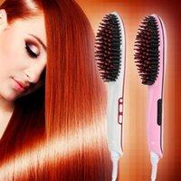 best used irons - Best Selling Electric Straightener Brush Beauty Salon Equipment Hair Straightening Comb dual use splint pear flower hair iron straight hair