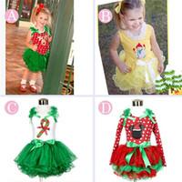 Wholesale kids dress christmas dress children costumes baby girls Christmas tree Bow Polka dot tutu cake dress kids red short sleeve party dress