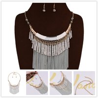 big custom jewelry - African Beads Necklace Earrings For Women Big Brand Long Tassel Statement Necklaces Custom Crystal Woven Flower K Gold Jewelry Sets