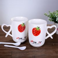 Wholesale Creative Fruit Design Ceramic Cup with a Spoon Set Cartoon Mug Cup Lover of Cups