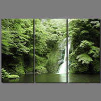 abstract waterfalls - Fashion New Green Landscape living room Decoration mountain waterfalls Canvas Painting wall Hanging home decor unframed