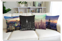 Polyester / Cotton baby couches - New York City View Dawn Pattern Cotton Cushion Cover For Home Car Couch Empire State Building Design Dark Night Pillw Case