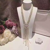 gold dust - Europe and the noble aristocratic imitation pearl top famous woman CC necklace with box card dust bag