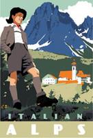 alps art - Italian Alps Boy Watch Travel Italy Landscape Vintage Retro Kraft Decorative Poster DIY Wall Stickers Posters Home Decor Gift