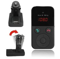Wholesale Wireless Bluetooth handsfree Car Kit car charger USB FM Transmitter MP3 Player LCD Display Support SD USB Remote Control CAU_303
