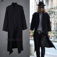 avant garde mens fashion - Fall New Avant garde Mens Fashion Draping Shawl Linen Long Cardigan Cloak Outwear Coat For Mens Tops Clothing