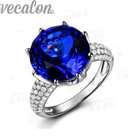 Wholesale Vecalon fashion Crown wedding ring for women Round ct Sapphire Simulated diamond Cz Sterling Silver Engagement Band ring