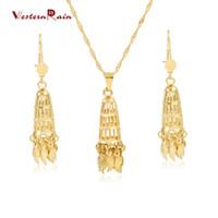 Wholesale Westernrain K Gold Plating Fashionable Jewelry Set Bridal Large Pendant Light Weight Women Jewelry Set For Weddings G678
