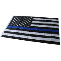 Wholesale 50pcs Police Cops Flags Flags Thin Blue Line USA Flag Black White And Blue American Flag With Grommets x150 cm