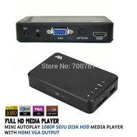 Wholesale Full HD1080P USB External SD U Disk HDD Media Player with VGA HDMI Support MKV H RMVB WMV MPEG VOB AluminumShell
