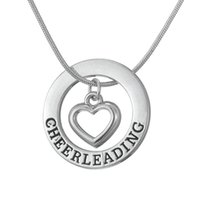 affirmation necklace - Drop Shipping Cheerleading Affirmation Washer Heart Love Pendant Cheerleader Cheer Cheering Necklace Teen Girls Birthday Gift