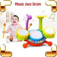 Wholesale New Coming Gift Baby Jazz Drum Toy Musical Instrument Learning Education Toys Kids Microphone Children Plastic Drum Model Set Present