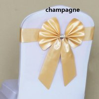 Wholesale Bow chair belt Wedding decoration bow back chair back chair covers elastic ribbon bow ribbon color optional WA0104