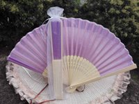 bamboo decorating - 20Pcs High Quality Purple Chinese Silk Fans Party Decorate Fan Folding Hand Fan21cm with Organza Bag