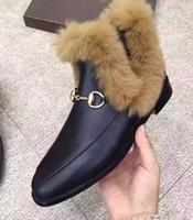 ankle hair - free ship U500 BLACK GENUINE LEATHER FUR HORSEBIT SHORT flat BOOTS runway rabbit hair luxury designer snow fashion women g