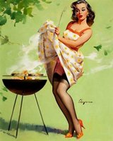 Wholesale BBQ Fail Pure Hand painted Gil Elvgren Pin Up Girl Art Oil Painting On High Quality Canvas any customized size available