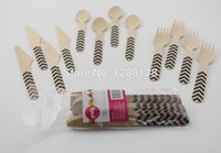 barbeque supplies - 432pcs Chevron Wooden Cutlery Utensil Disposable Fun Party Barbeque Buffet Picnic Wooden Tableware