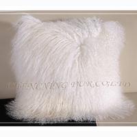 Wholesale CX D F Hot Sales Genuine Mongolian Lamb Fur Pillow Cover