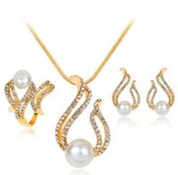 Wholesale Natural Pearl Luxury Diamond Jewelry Set Rings Crystal Fashion Earrings for Women Ear Ring Earring Necklace Party Wedding Jewelry Gold