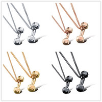 american steel buildings - Hot Dumbbell Barbell Kettlebell Necklace Gunblack stainless steel men women Necklaces Body building Jewelry Fitness Necklaces lover necklace
