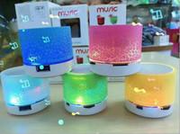 Revisiones Portable speaker for mp3 player-Altavoz Bluetooth 2016 hotsale mini portátil S10A9 crepitar textura con luz LED se puede insertar el disco de U, jugador de teléfono móvil con la caja al por menor