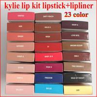 Wholesale 23color Kylie Lip Kit by kylie jenner Velvetine Liquid Matte Lipstick Lip Pencil Lip Gloss Set color