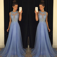 Wholesale 2016 Lavender Chiffon Prom Dresses Lace Applique Beads Formal Long Evening Dress A Line Crew Neck Zip Back Party Gowns