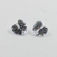 Wholesale 8x8mm AAAAA cubic zirconia lavender heart half drill hole loose gem stones