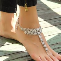 Wholesale Beach Anklet for Women Lady Novelty Retro Coin Flower Barefoot Sandals Fashion Sandy Beach Party Jewelry Anklet Valentine Gift