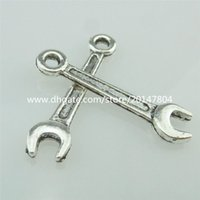 antique wrench - 14876 Alloy Antique Silver Vintage Mini Wrench Spanner Pendant Tool Charm
