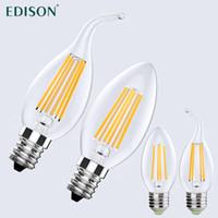 al por mayor iluminación de la lámpara de cristal de época-Vintage Edison LED Bombilla Filamento Bombilla E12 E14 E26 E27 LED Dimmable 2W 4W 6W Lámpara LED Cristal Candelabro Bombillas LED
