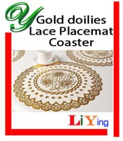 Wholesale gold round lace doilies crafts sizes christmas cupcake liners square rectangular table mat placemat coaster party decoration