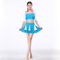 belly costumes for sale - Contrast Color Dance Wear piece Set Cheerleaders Top Skirt Arm Sleeve Spandex Fabric Belly Dance Oriental Costumes for Sale