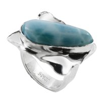 Wholesale Larimar Ring for woman silver handmade jewelry high quality american designer gift oval shape wedding ring for R6522L