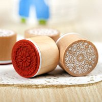 Wholesale The Best Price Brand New Vintage Floral Flower Round Wooden Rubber Stamp Scrapbooking Wedding Fit For Decoration