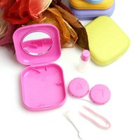 Wholesale Cute Candy Colors Pocket Mini Contact Lenses Case Box For Eyes Travel Glasses Case