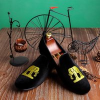 Wholesale Harpelunde Black Men Dress Shoes Motif Velvet Loafers Handmade Shoes For Weding Red Sole Size