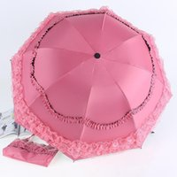 best windproof umbrella - ChowDon Fashion Windproof Women Sun Umbrella Best Luxury Manual Three Folding Beautiful Lace Umbrella UV Protection Random Color