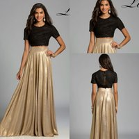 arabic tone - Lara Designs Two Pieces Two Pieces Black Champagne Cap Sleeve Prom Dresses High Neck Elegant Two Tone Lace Beaded Arabic Occasion Gowns