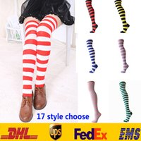 achat en gros de genou haut bas rayé-New Fashion Striped Tight High chaussettes au dessus du genou Girls Women Halloween Cosplay Stocking Chaussettes Chaussettes XMAS Gifts 17 Style HH-S12