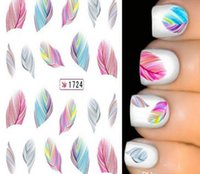 Wholesale Fashion Individual Decals Per Sheet D Water Transfer Nail Art Stickers Manicure Tips Feather Decals DIY