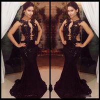 art deco materials - Sexy See Through Top Appliques Prom Evening Dresses Long Mermaid Black Sequins Material Cheap Party Gowns Dress Vestidos de Festa