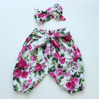 Wholesale Autumn winter summer baby girls organic cotton floral vintage floral long pants harem pant for baby girls boutique clothes pant headband