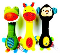 Wholesale 2016 new arrival baby rattle baton pet toy sound plush BB device colors polyester fiber animal toddler children Christmas birthday pres
